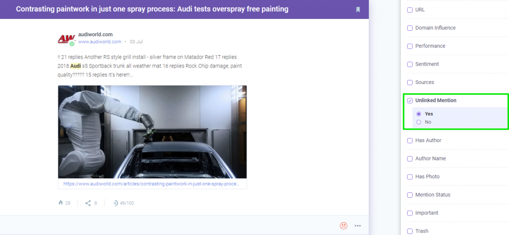 audi unlinked mention