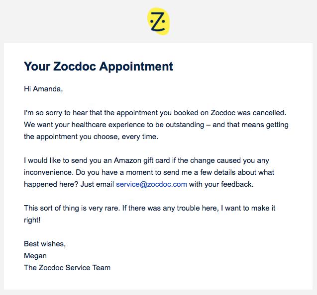 ZocdocApology