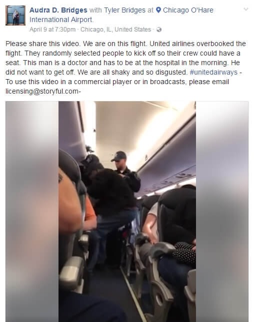Facebook about the United Express Flight 3411 incident