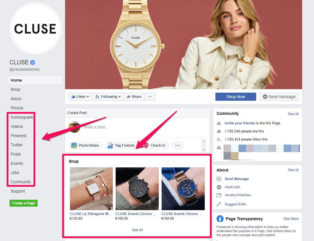 Cluse Facebook shop features