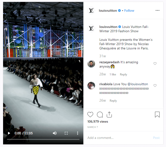 Loius Vuitton IGTV fashion show broadcast