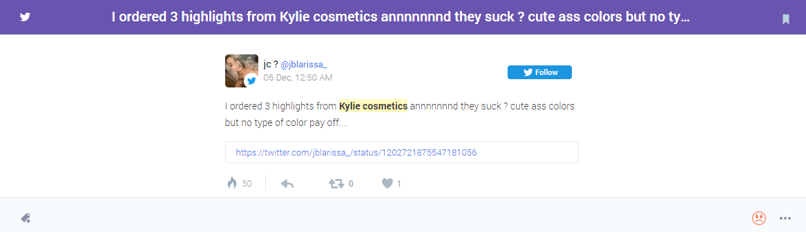 Negative Sentiment BrandMentions for Kylie