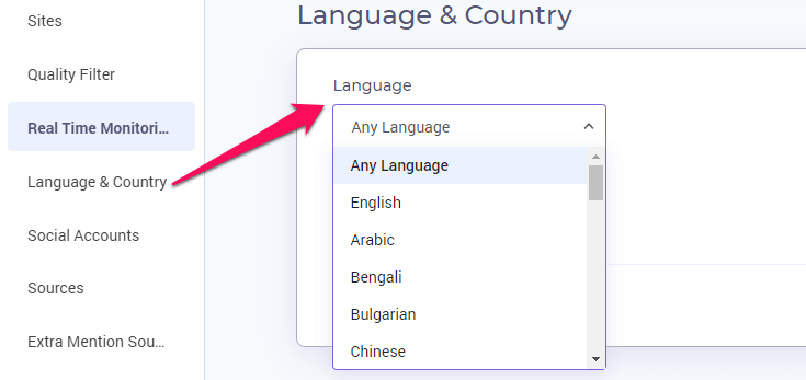 Select language and country