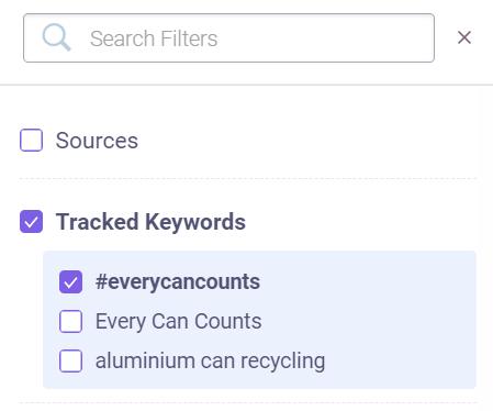 filter tracked keywords