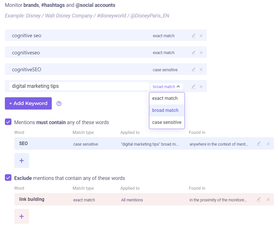 keywords tracking BrandMentions
