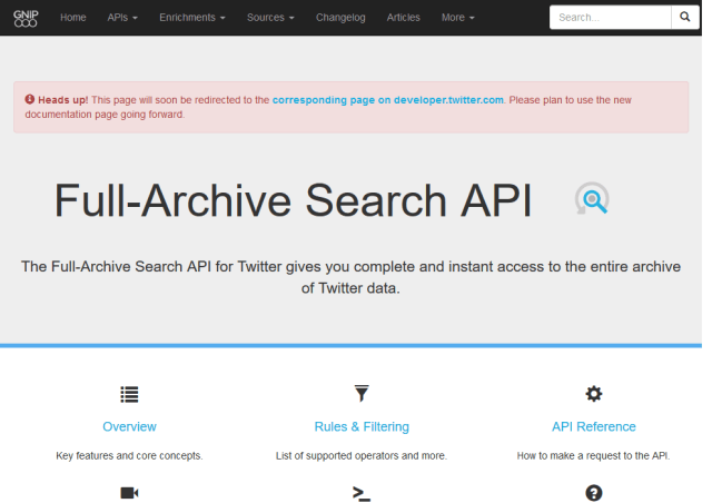full archive search API