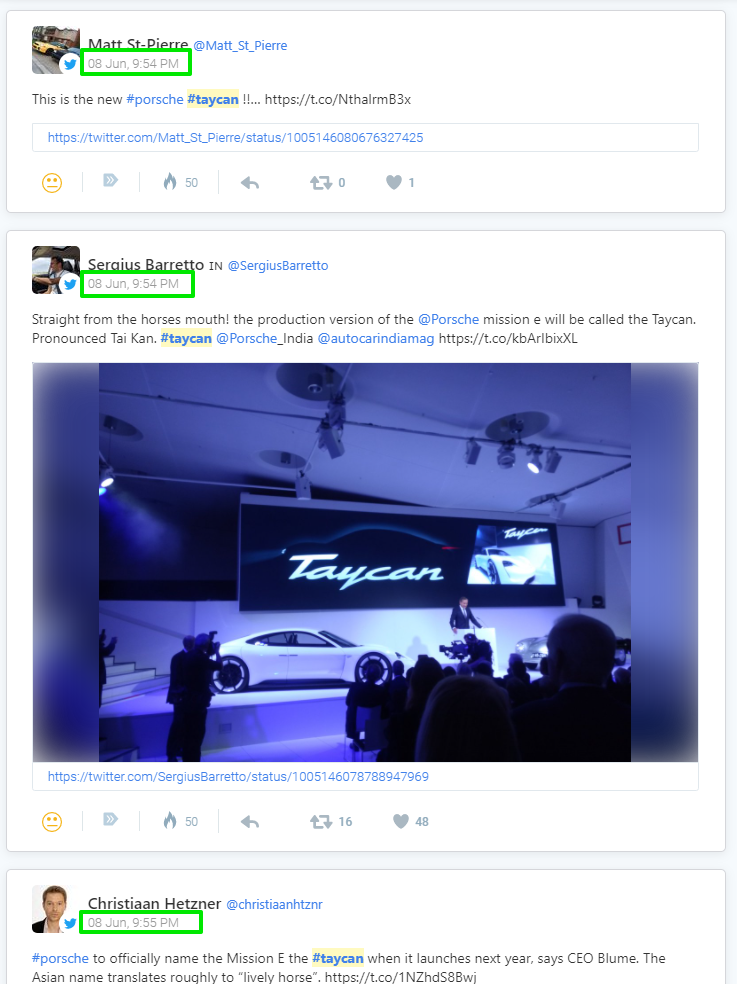 taycan mentions